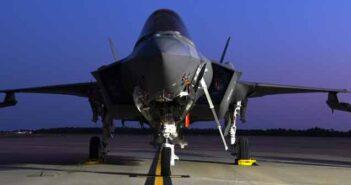 eglin air force base f-35 on tarmac at night