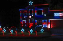 Troon Goon Christmas Lightshow patriotic theme