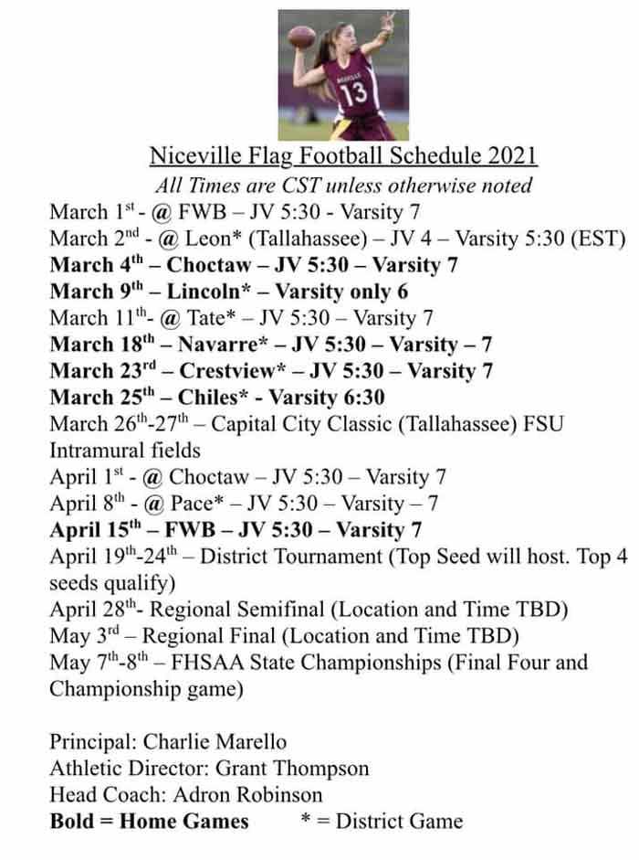 niceville high school flag football schedule 2021