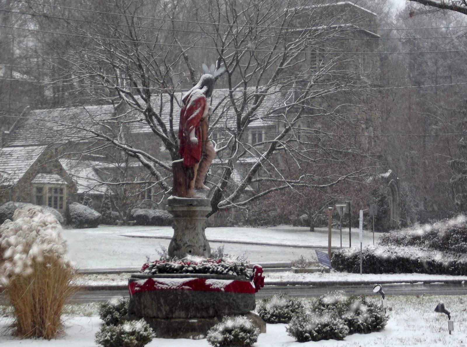 Winter - Chief Kisco statue in Mt. Kisco, New York