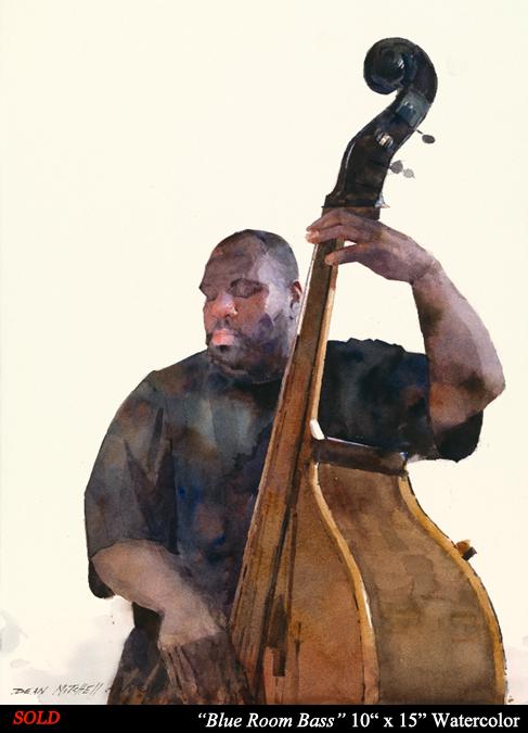 "Blue Room Bass 10"" x 15"" Watercolor"