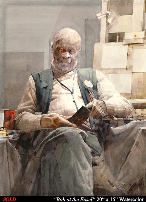 """Bob at the Easel 20"""" x 15"""" Watercolor"""