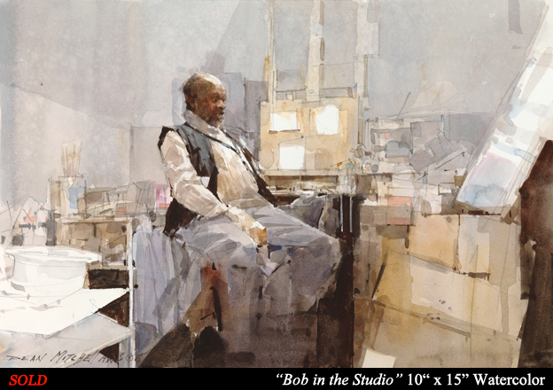 """Bob in the Studio 10"""" x 15 Watercolor"""