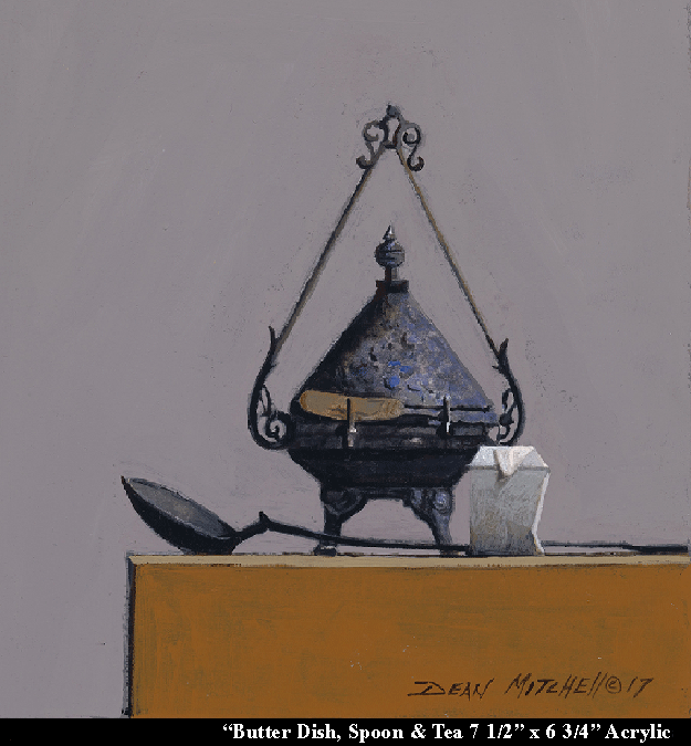 "Butter dish, spoon and tea 7 1/2"" x 6 3/4"" Acrylic"