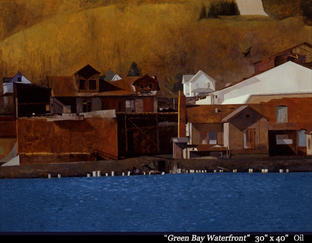 "Green Bay Waterfront 30"" x 40"" oil"