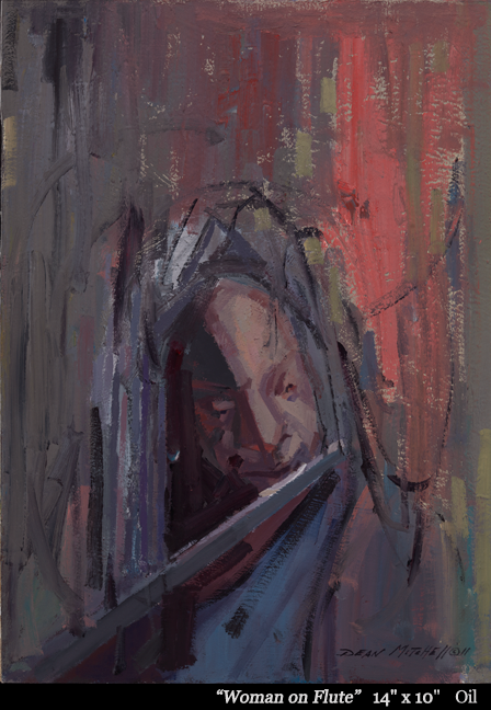"""Woman on Flute 14"""" x 10"""" oil"""