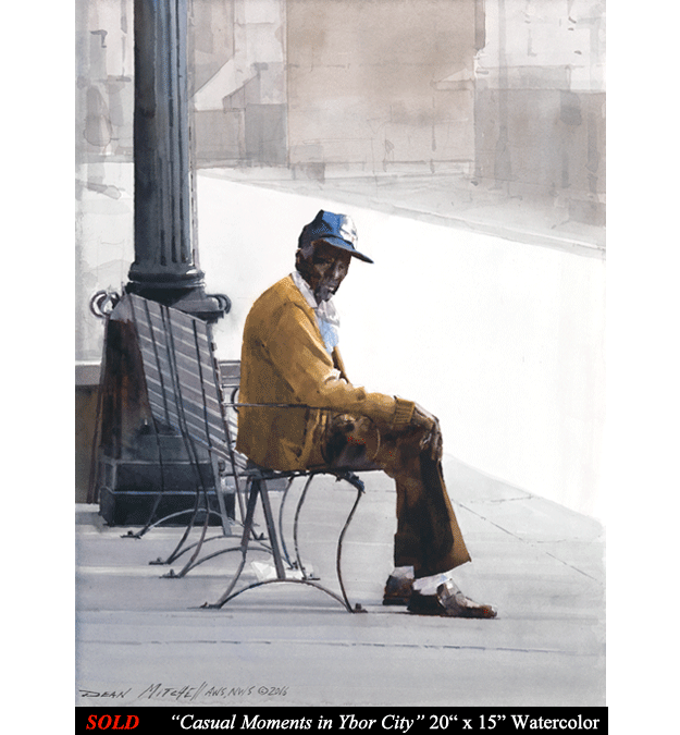 Casual Moments in Ybor City 20 x 15 watercolor