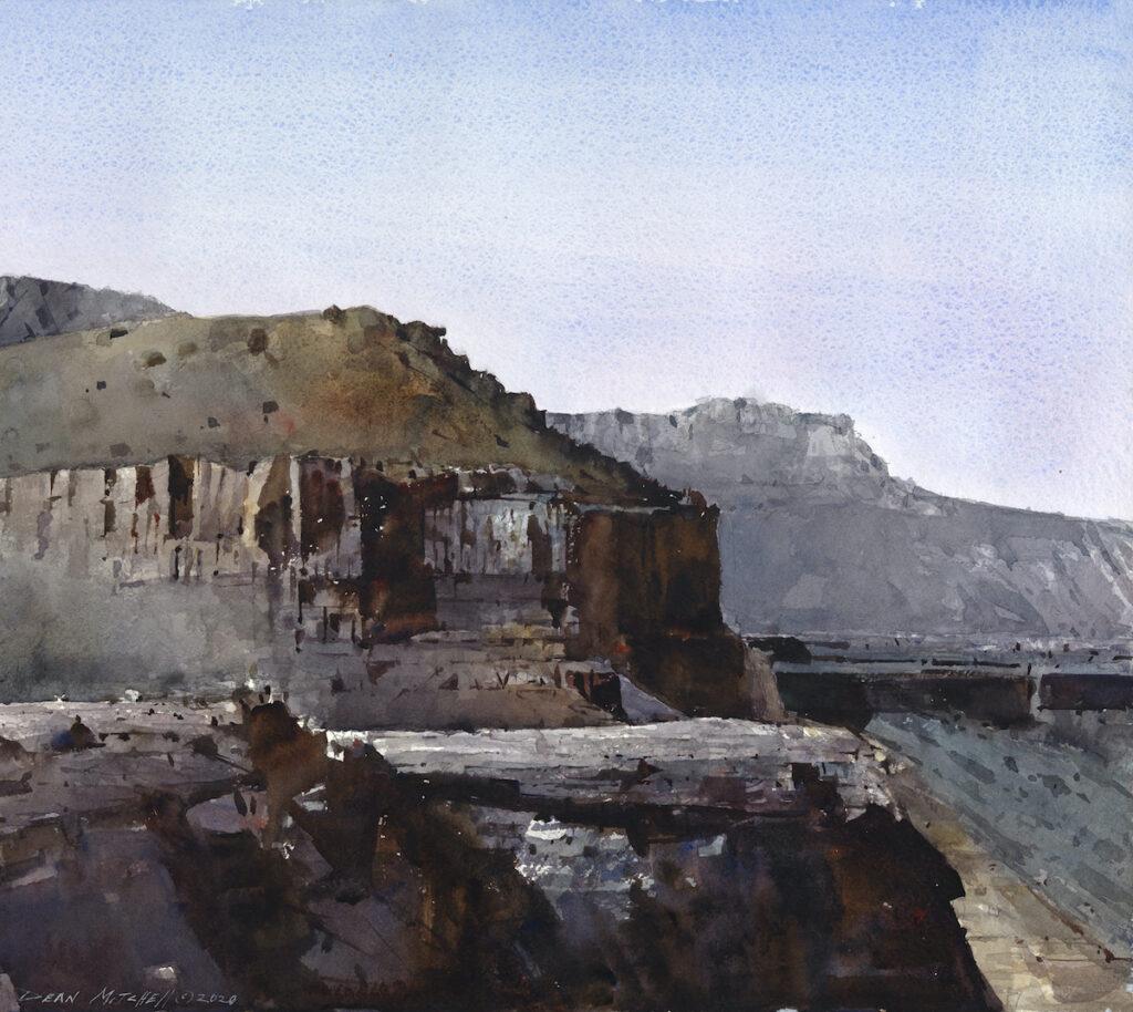 "Cliff watercolor 18"" x 20"" watercolor"