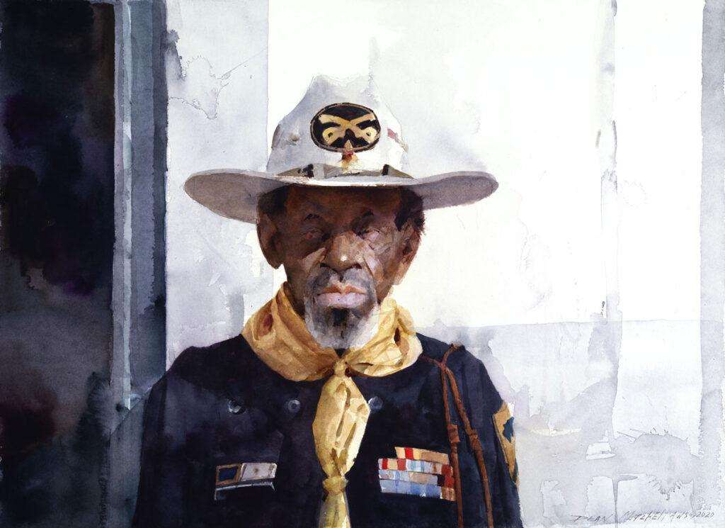 "RT Williams Buffalo Soldier 22"" x 30"" watercolor"