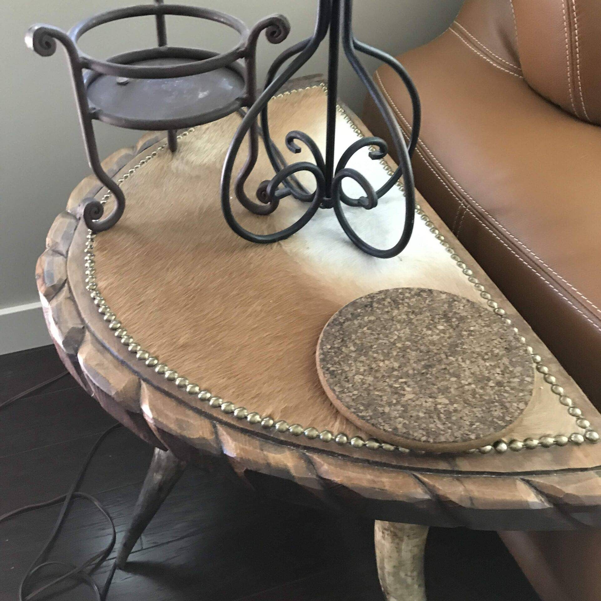 Cowhide Bulls Horns Foyer Table
