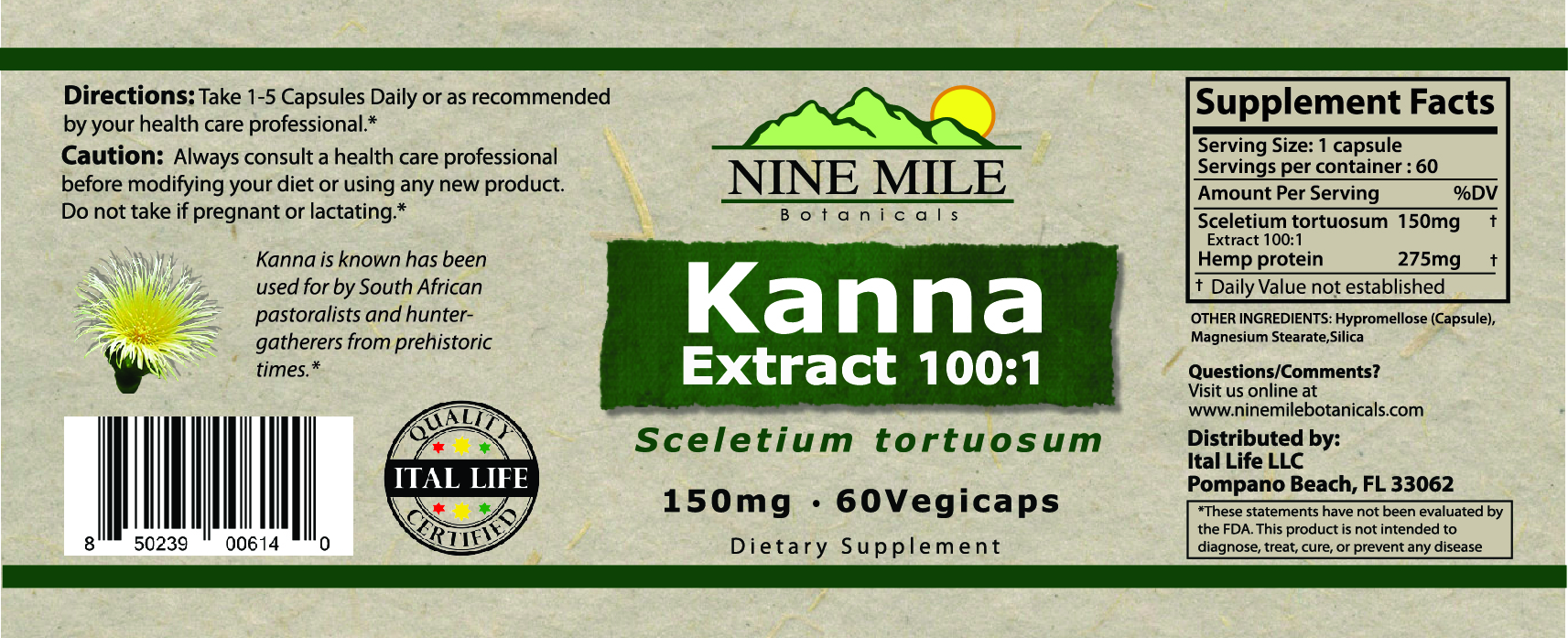 Nine Mile Botanicals Kanna label