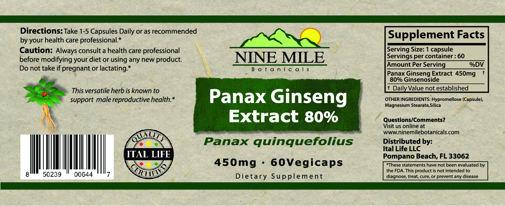 Nine Mile Botanicals Panax ginseng label