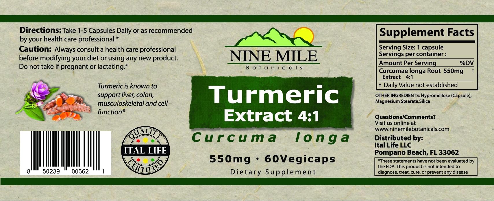 nine Mile Botanicals Turmeric Label