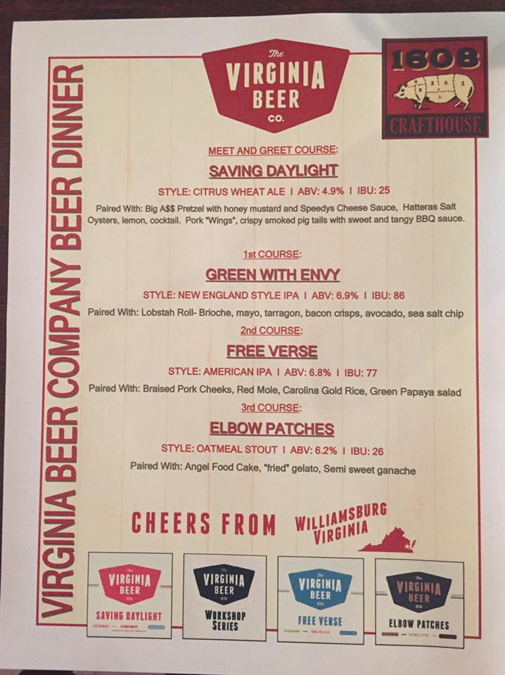 Virginia Beer Company - Beer Dinner