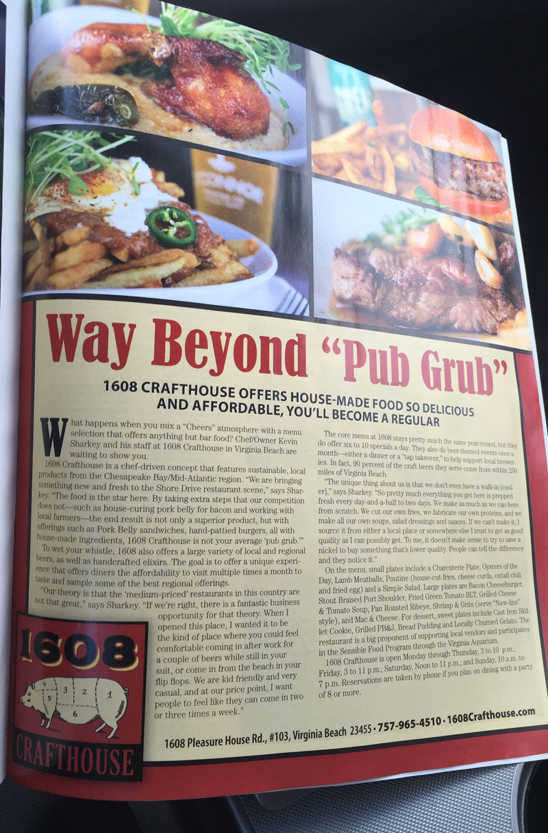 "Coastal VA Magazine Article - Way Beyond ""Pub Grub"""