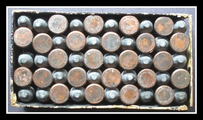 Original uncleaned 38-100 Long Rimfire Cartridges