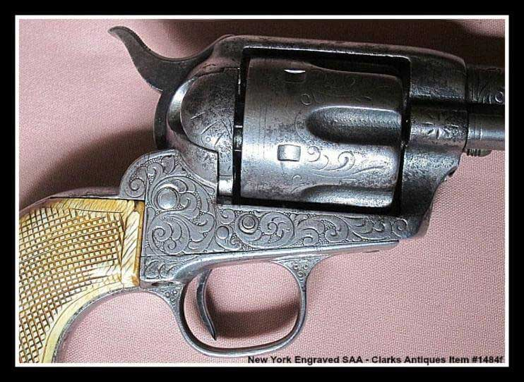 Nimschke Engraved Colt SAA showing worn engraving on the cylinder