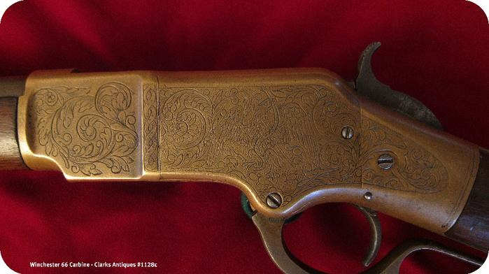 Winchester 1866 Carbine - Mexican snake and eagle engraving