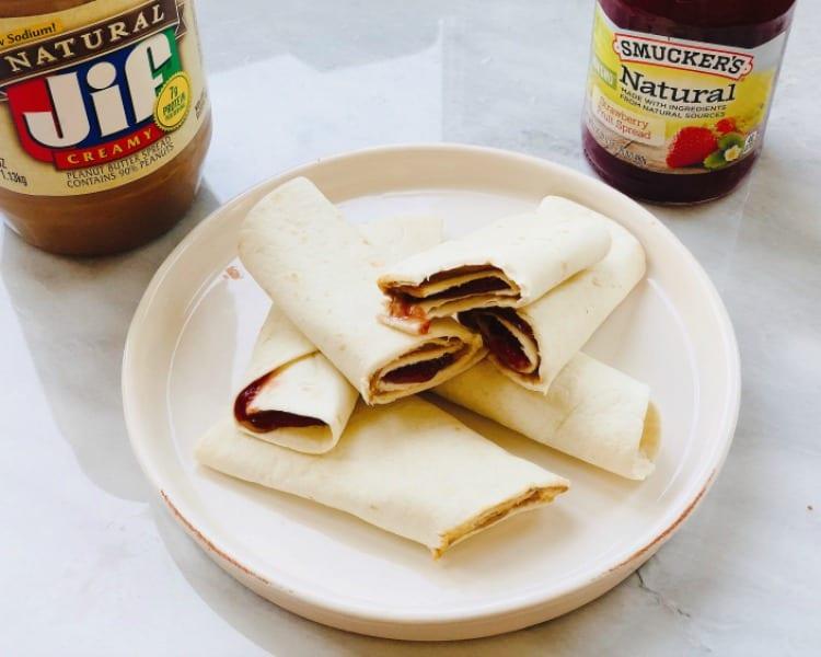 Quick and Easy PB&J Tortilla Rollups
