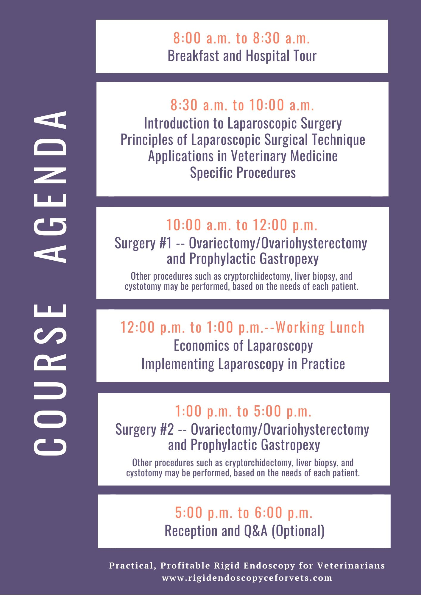 agenda for rigid endoscopy veterinary continuing education course