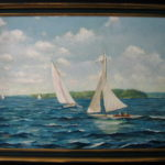 "Sailboats       24' X 36"" Acrylic on canvas"