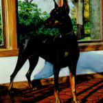 "Dobermann  18"" x 24""  Watercolor on paper"