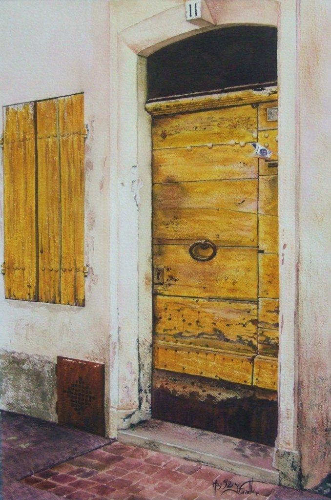 "La porte jaune 16"" X 12"" Watercolor on Arches paper"