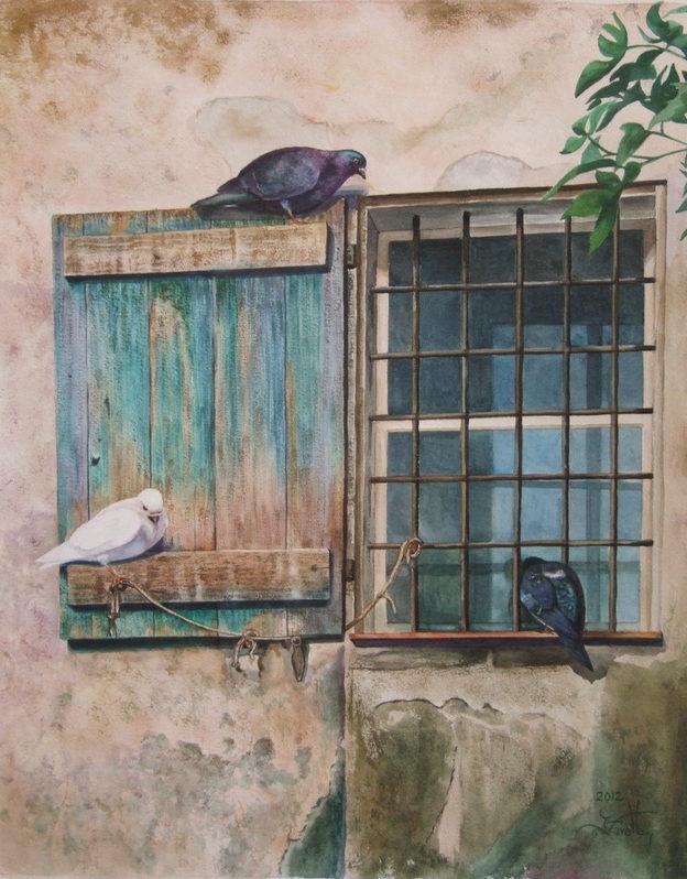 """Les Trois pigeons 20"""" X 16"""" Watercolor on Arches paper"""