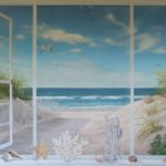 "Seascape trompe l'oeil             50"" X 62""      Acrylic on canvas"