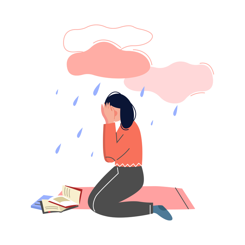 Depressed Teen Girl Illustration