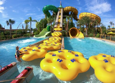 Rafts at Volcano Bay being hauled up using nifty conveyor belts - Everything You Need to Know For the Perfect Day at Volcano Bay