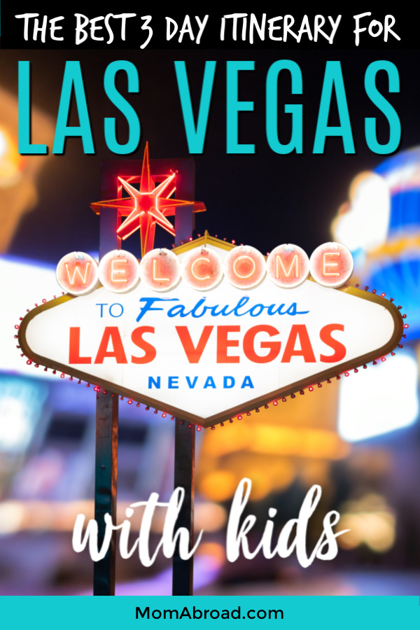 All the top family-friendly attractions, restaurants, hotels and shows laid out in one easy to navigate 3-day itinerary for visiting Las Vegas with kids. Plus ways to save big on sightseeing! #LasVegasWithKids #LasVegas #LasVegasItinerary #FamilyFriendlyVegas #familytravel #vegas