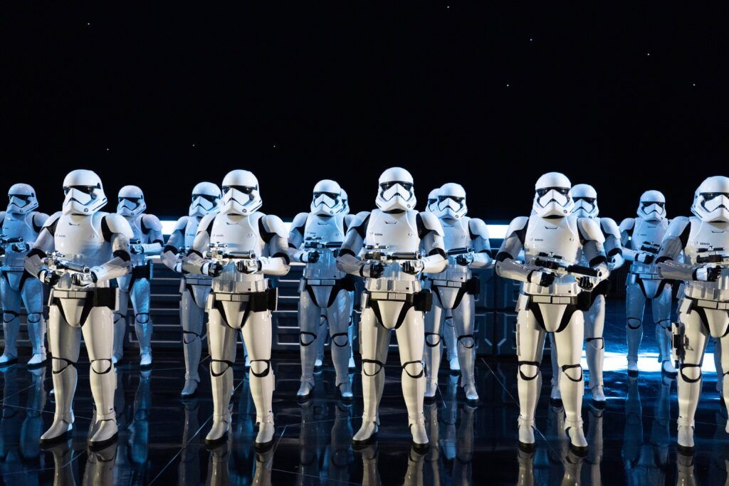 Rows of Storm Troopers in one of the scenes from Rise of the Resistance. Boasting the most advanced ride technology of any dark ride in Disney theme park history, Rise of the Resistance is an epic, immersive, and innovative experience on a scale like no other.
