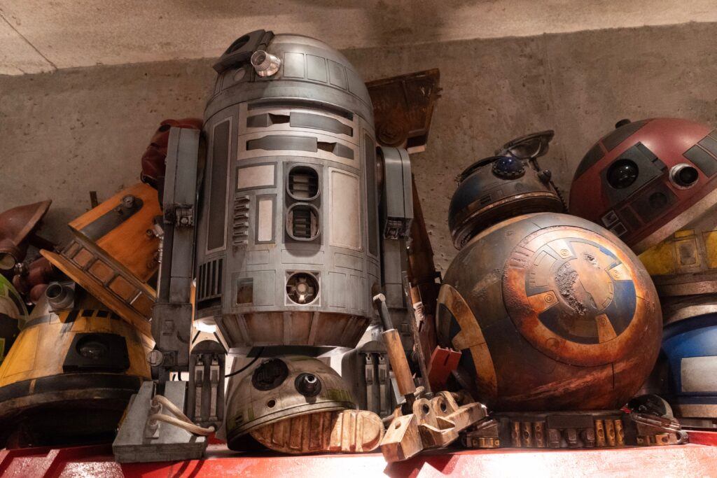 View of droids inside Droid Depot in Galaxy's Edge --the main land featuring Star Wars at Disney Hollywood Studios.