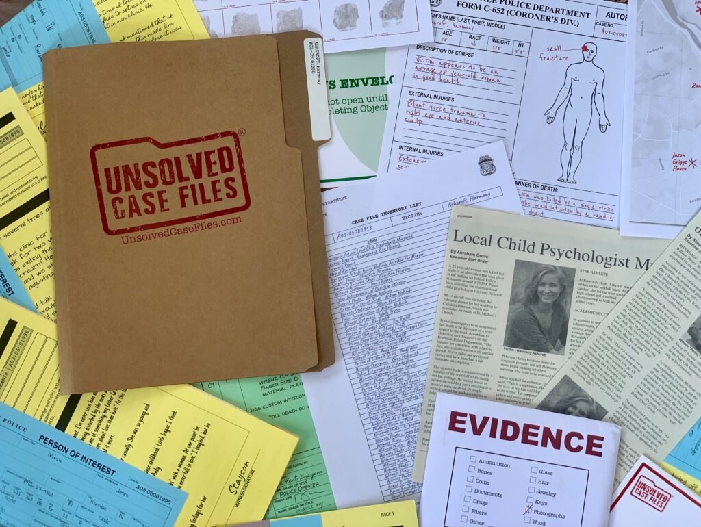 Papers from Unsolved Case File game. Try a virtual escape room or murder mystery kit to get the whole clan working together to hunt down clues and solve puzzles. These immersive games are especially fun for older kids and teenagers.