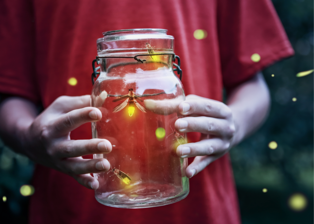 Close-up image of boy holding jar of fire-flies. Head outside with a net and jar and see if you can capture these tricky little lightning bugs. Take a second to admire their glow up close and then set them free again. - Safe Summer Bucket List – 100 Ways to Have Fun This Summer While Social Distancing