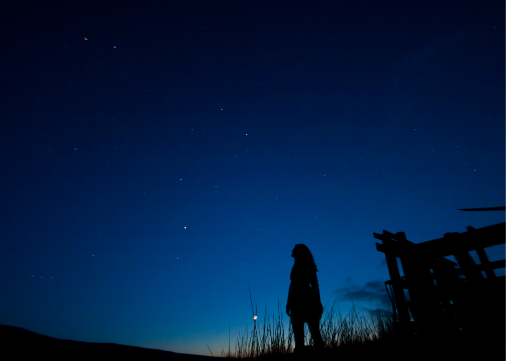Silhouette of girl gazing up at the night sky. Going to the movies may not be an option, but there's always a beautiful show playing out across the night sky. See if you can spot specific stars and planets using a telescope or download SkyView Lite. This free app, for apple and android, lets you point your phone to the sky and identify the stars, constellations, galaxies, satellites, and planets that are present. - Safe Summer Bucket List – 100 Ways to Have Fun This Summer While Social Distancing