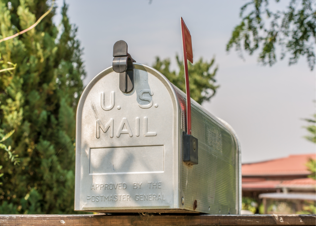 "Silver US mail box. Write letters to a loved one or send ""Thinking of You Cards"" out to friends. Real mail is lovely to receive and could really brighten someone's day."