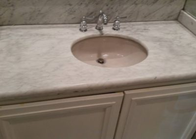 residential bathroom marble restoration Vanity before