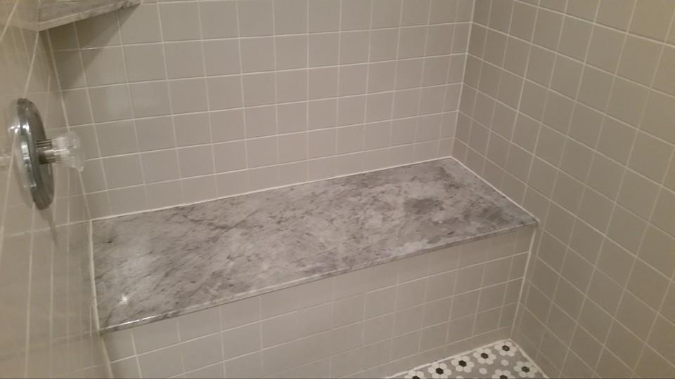 residential bathroom marble restoration-shower-seat