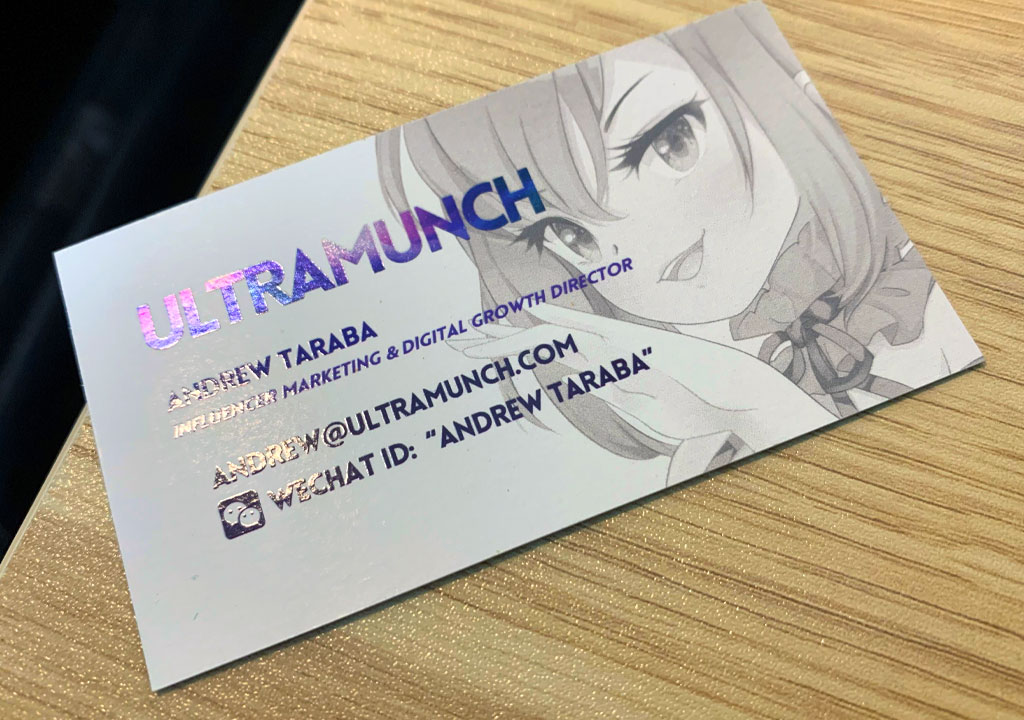 Inline Foil Business Cards With Spot Uv