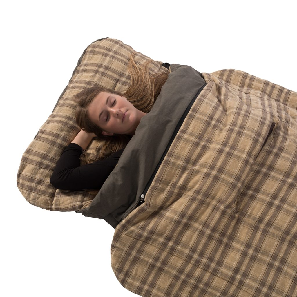 Kodiak Canvas Z-Top Sleeping bag with the Z Top in the folded down position.