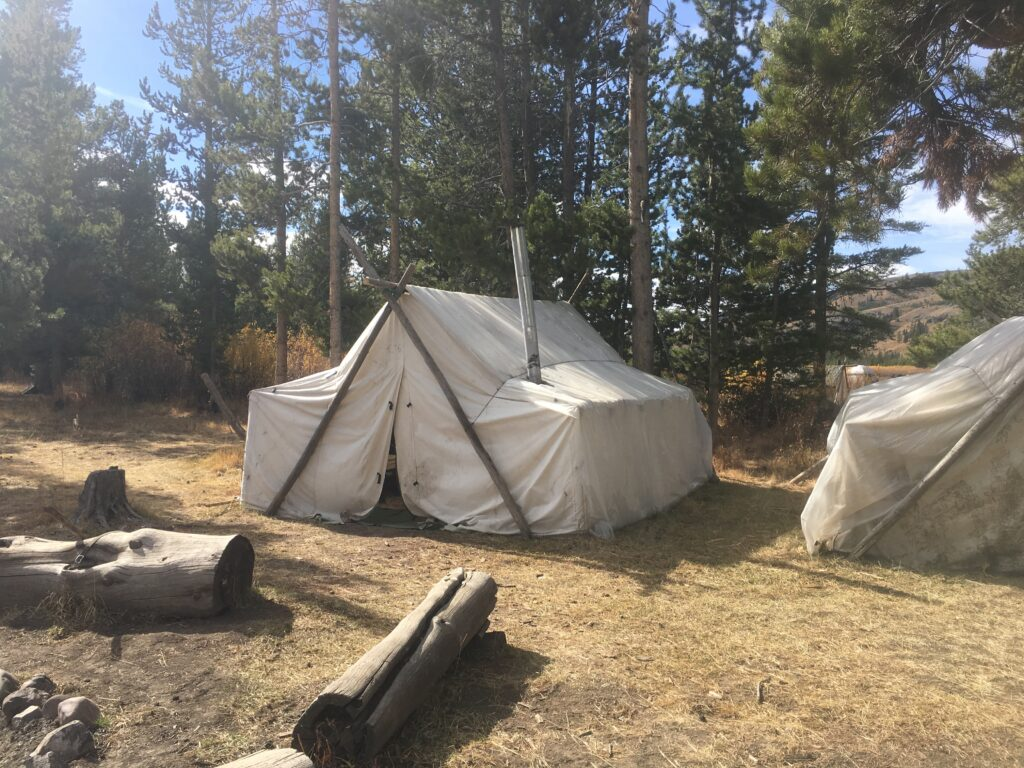 A hunters wall tent in Wyoming
