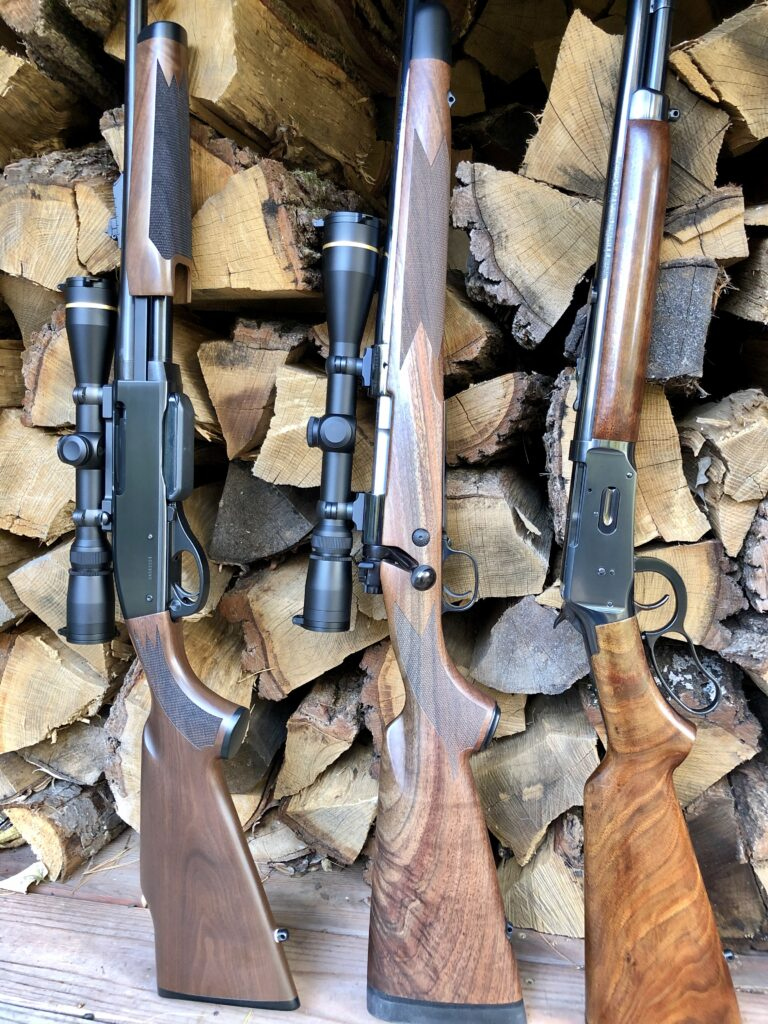 Popular Deer Rifles. A Remington 7600 in 30-06, a Winchester Model 70 Super Grade in 30-06 and a Winchester Model 64 in .30-30