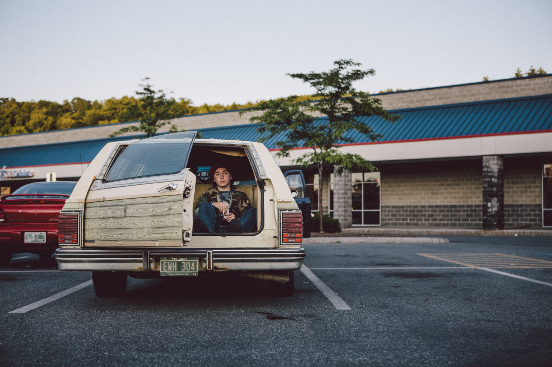 Teenager in New Hampshire parking lot.