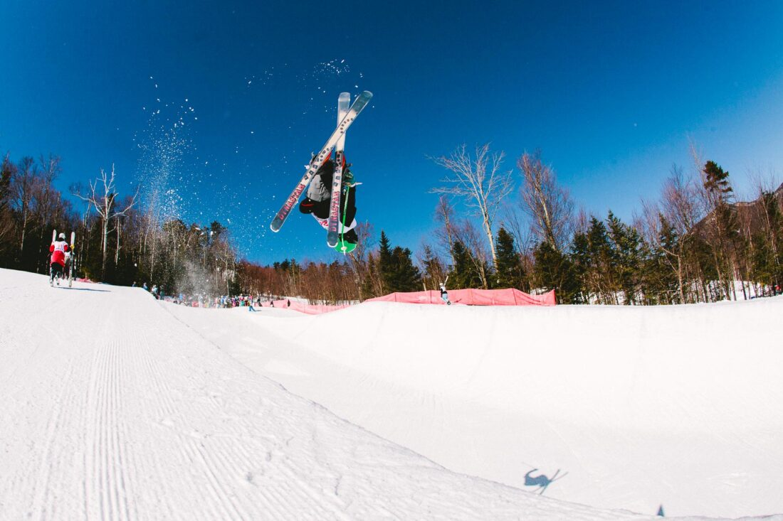 Skier in halfpipe at Waterville Valley, New Hampshire