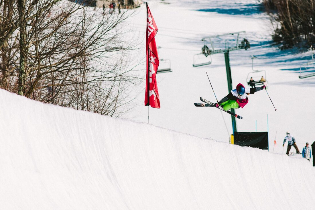 Devin Logan skiing in halfpipe at Waterville Valley, New Hampshire