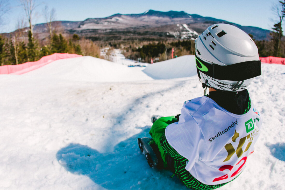 A skier looks down the halfpipe at Waterville Valley, New Hampshire
