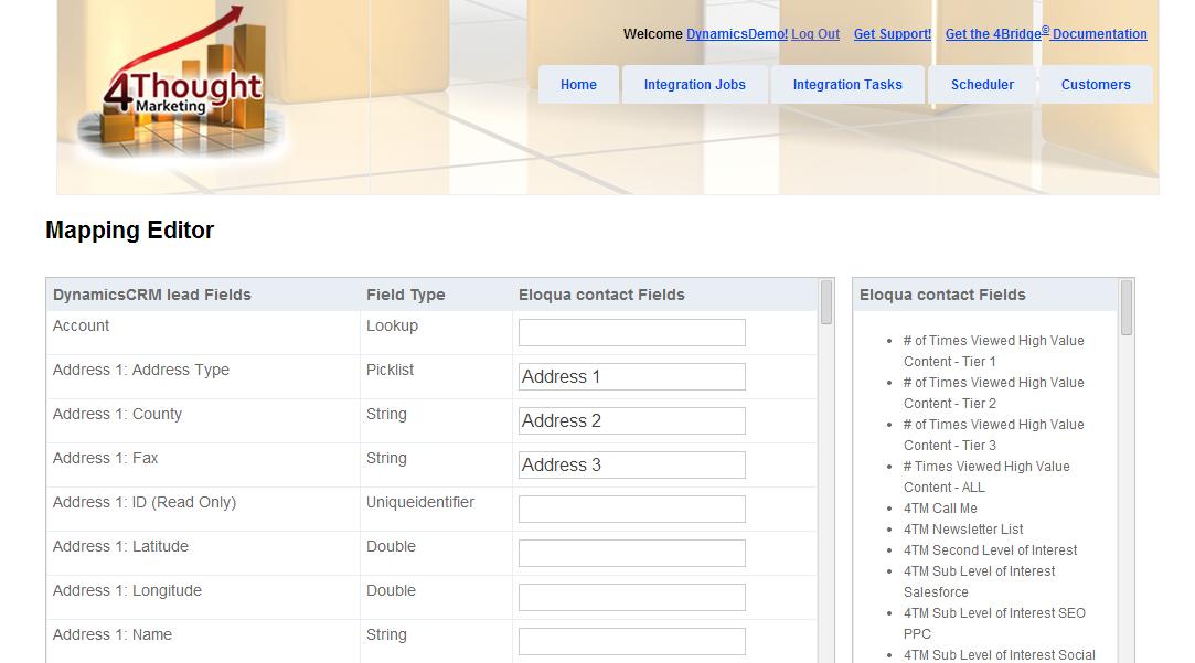 4Bridge Integration Mapping Editor for Eloqua to Microsoft Dynamics