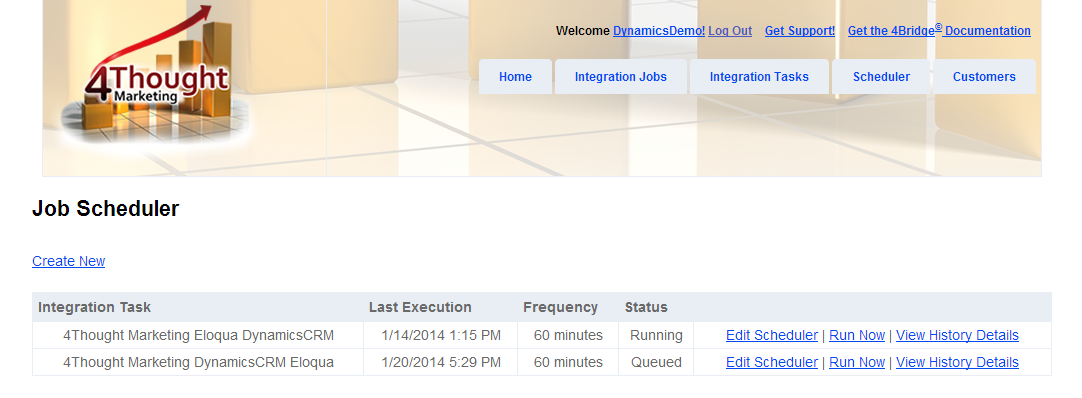 4Bridge Integration Job Scheduler for Eloqua to Microsoft Dynamics